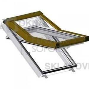 , Plastové strešné okno Premium - farba biela, hnedé oplechovanie, 78cm x 140cm